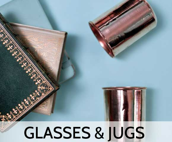 Copper Glasses with blue background