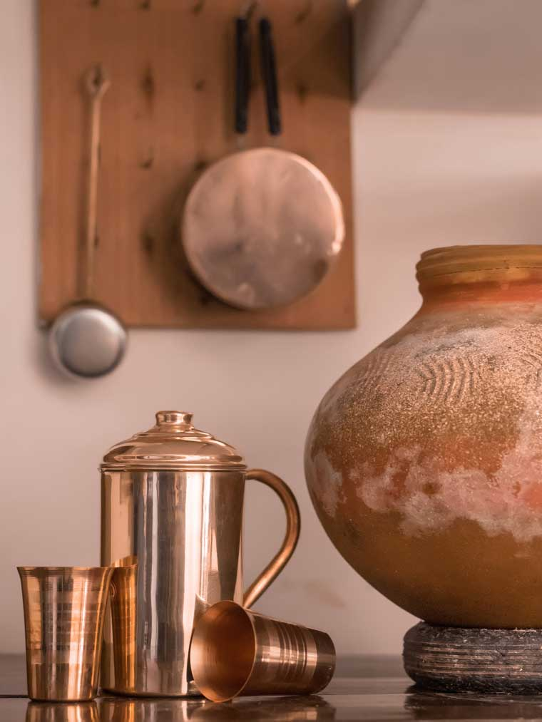 Copper Jug with two copper glasses. Mud pot